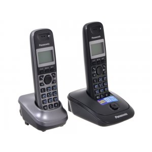Р/Телефон Dect Panasonic KX-TG2512RU2 титан (труб. в компл.:2шт) АОН